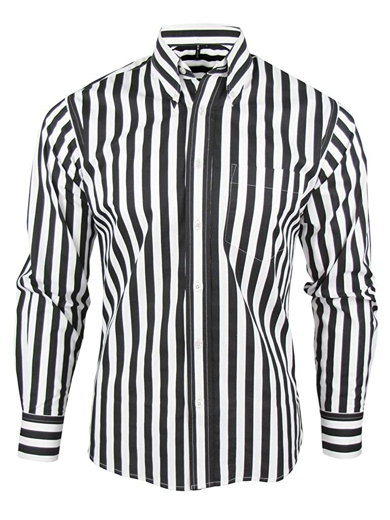 1960s – 70s Mens Shirts- Dress, Mod, Disco, Turtleneck Shirt Stripe Mens Black & White Classic Mod Vintage Design - Relco £31.99 AT vintagedancer.com