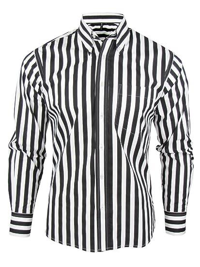 f58358347e3 Shirt Stripe Men s Black   White Classic Mod Vintage Design - Relco (Small  Collar Size