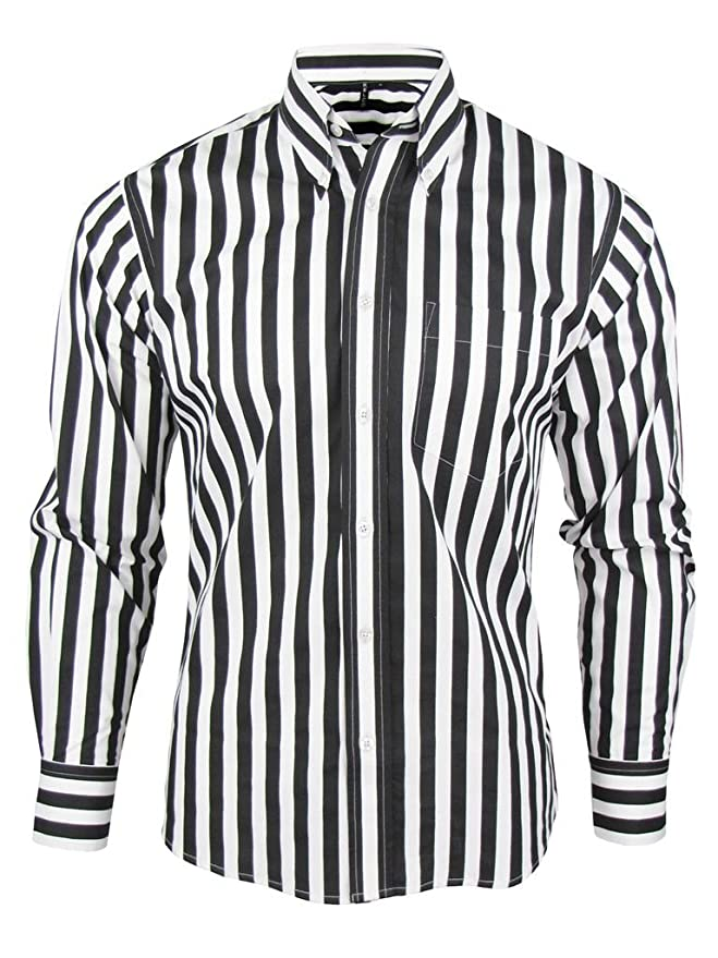 1960s – 70s Mens Shirts- Disco Shirts, Hippie Shirts Shirt Stripe Mens Black & White Classic Mod Vintage Design - Relco £31.99 AT vintagedancer.com