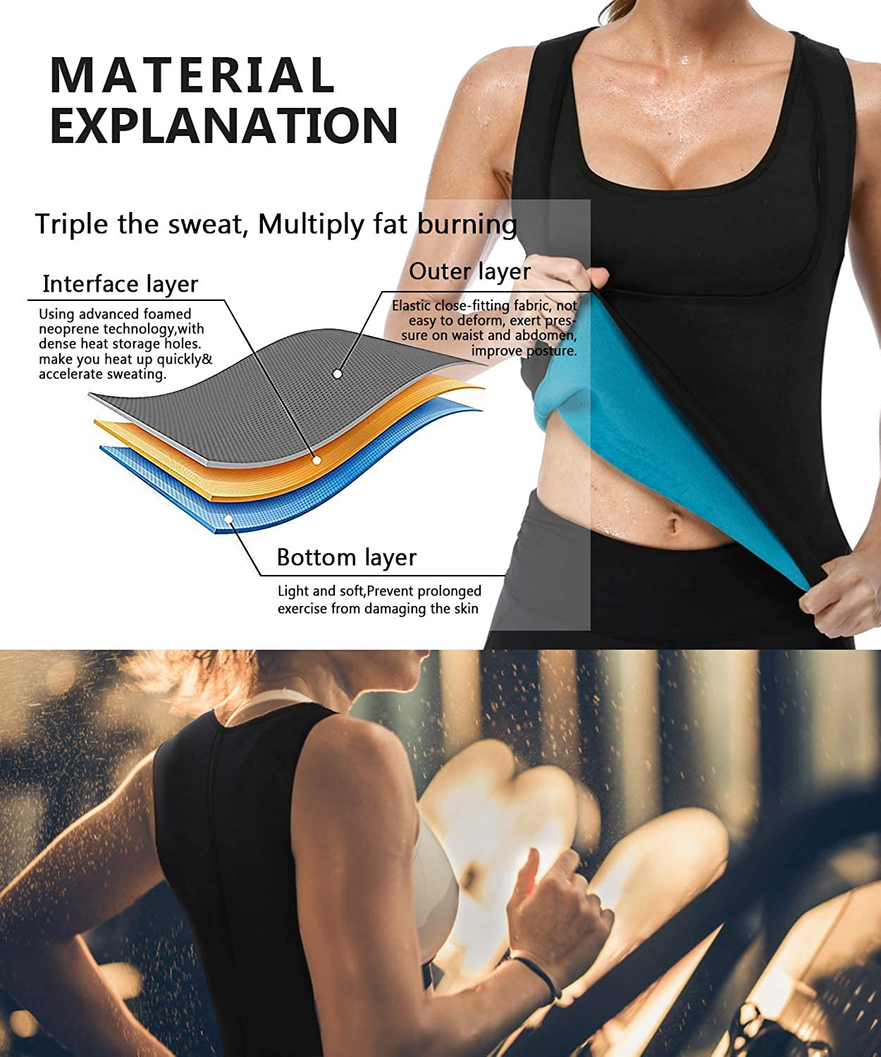DoLoveY Women Neoprene Sauna Vest Sweat Weight Loss Corset Hot Body Shaper with Zipper