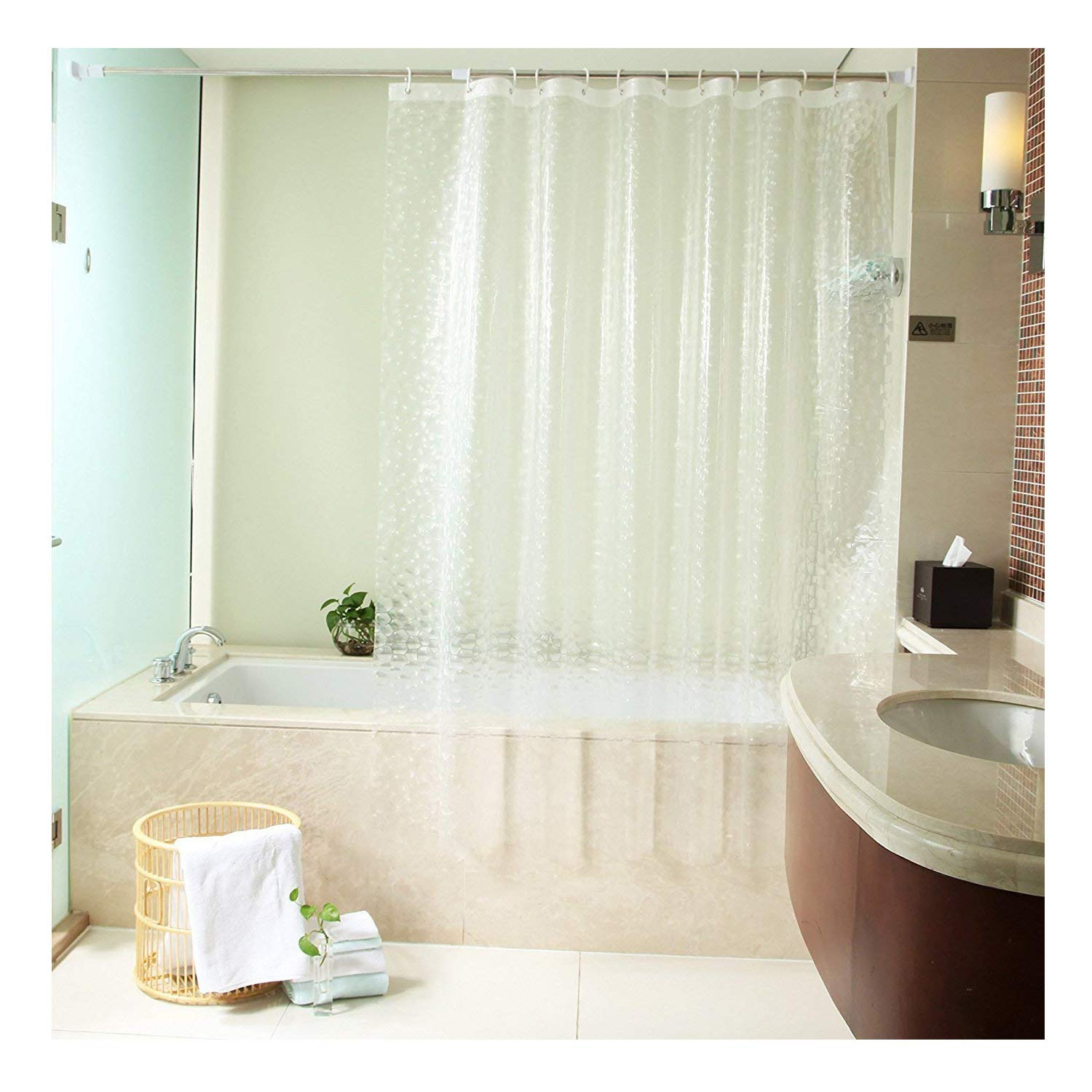 Amazon Uforme 48 Inch By 72 Shower Curtain Liner PVC Free Enviromental 3D Cube Bath Anti Water And Mold Proof With Hooks Clear Home