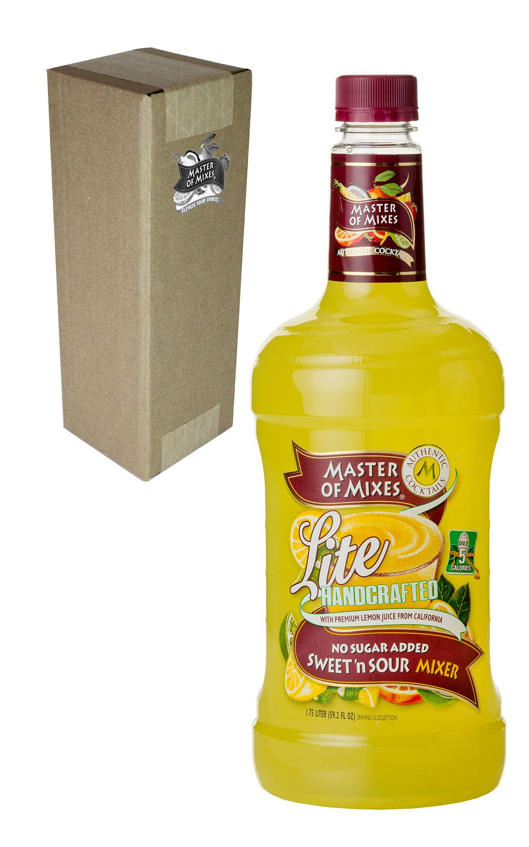 Master of Mixes Sweet N' Sour Lite Drink Mix, Ready To Use, 1.75 Liter Bottle (59.2 Fl Oz), Individually Boxed by Master of Mixes