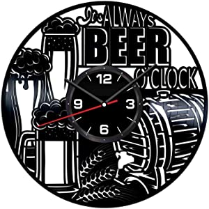 Beer Wall Clock Made of Vintage Vinyl Records - Stylish Clock and Amazing Gifts Idea – Unique Home Decor – Personalized Presents for Men Women Kids – Great for Living Room Bedroom Kitchen