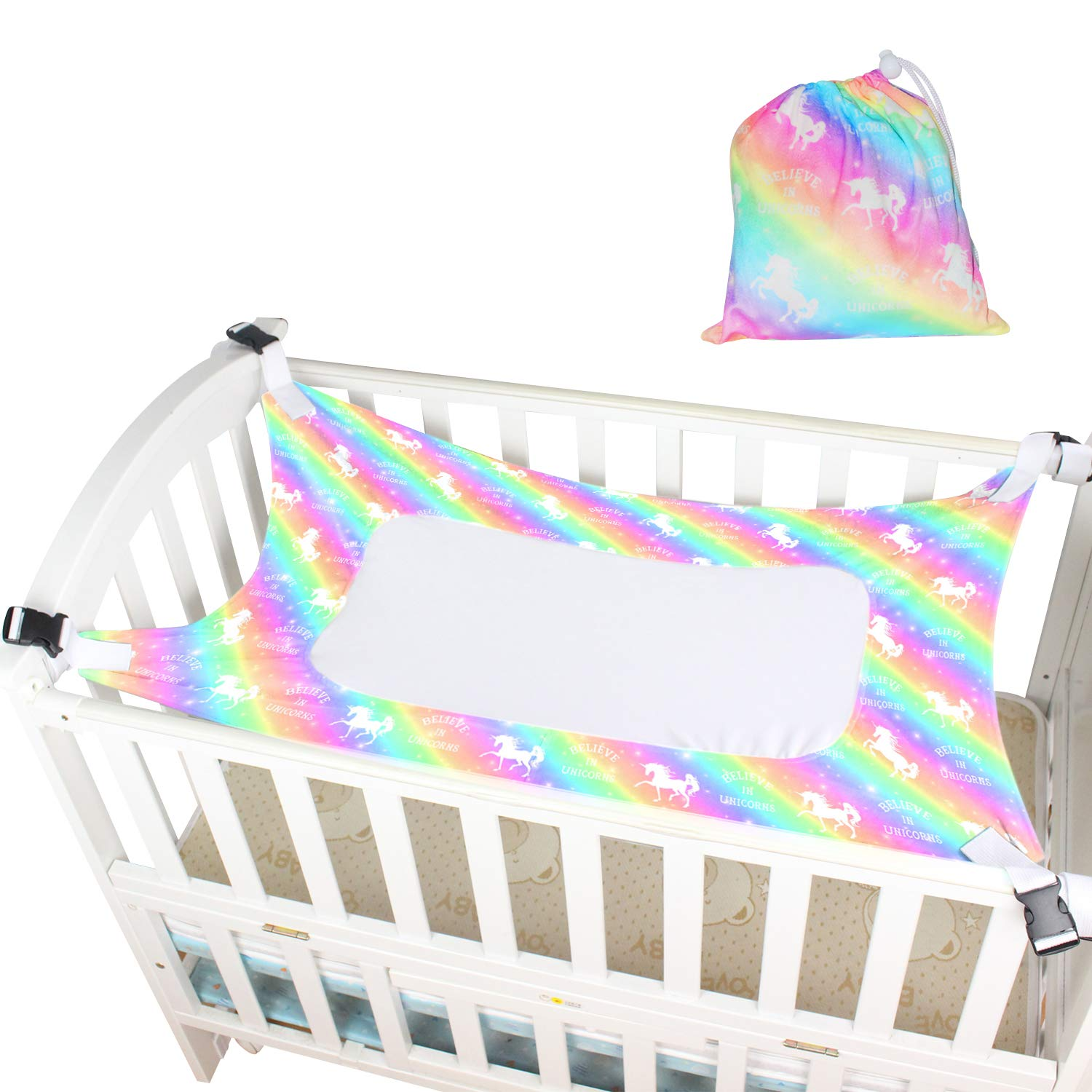 Sylfairy Baby Hammock for Crib, Mimics Womb, Breathable Supportive Mesh Newborn Bassinet Safe Buckle Hammocks Bed with Portable Gift Bag for Newborn Baby Shower Gifts Bassinet Hammock(Rainbow)
