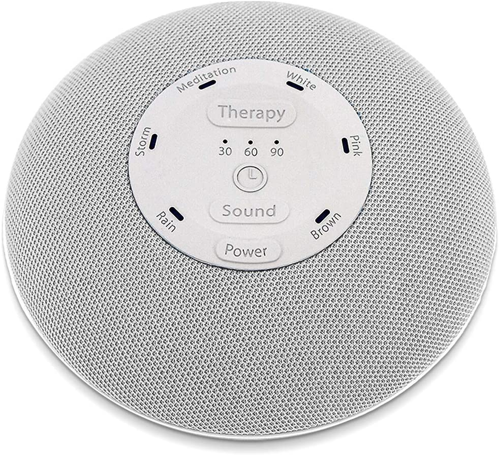 HoMedics Deep Sleep Mini Portable Sleep Sound Machine 3 Programs, 3 White Noises, 2 Sounds, Guided Meditation, Auto-Off Timer, Rechargeable Battery Gray