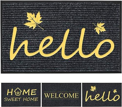 Airsnigi Door Mat,Outdoor Indoor Doormat with Rubber Backing,Non-Slip Welcome Doormat,Outdoor Entrance Doormat,Striped Door Floor Mat,Entryway Rug,32 x20 ,Waterproof,Easy Clean Hello