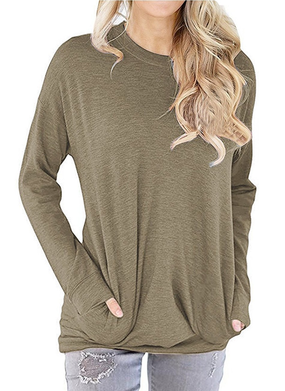 Dutebare Women Casual Long Sleeve Round Neck Sweatshirt Pocket Pullover Loose Tunic Shirts Blouse Tops Khaki XL