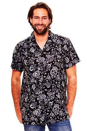 8c022fd2 Funky Hawaiian Shirt for Men Short Sleeve Front-Pocket Sugar Skulls ...