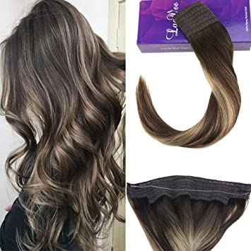 Amazon Com Laavoo 14 Flip On Hair Extensions Balayage Ombre Dark