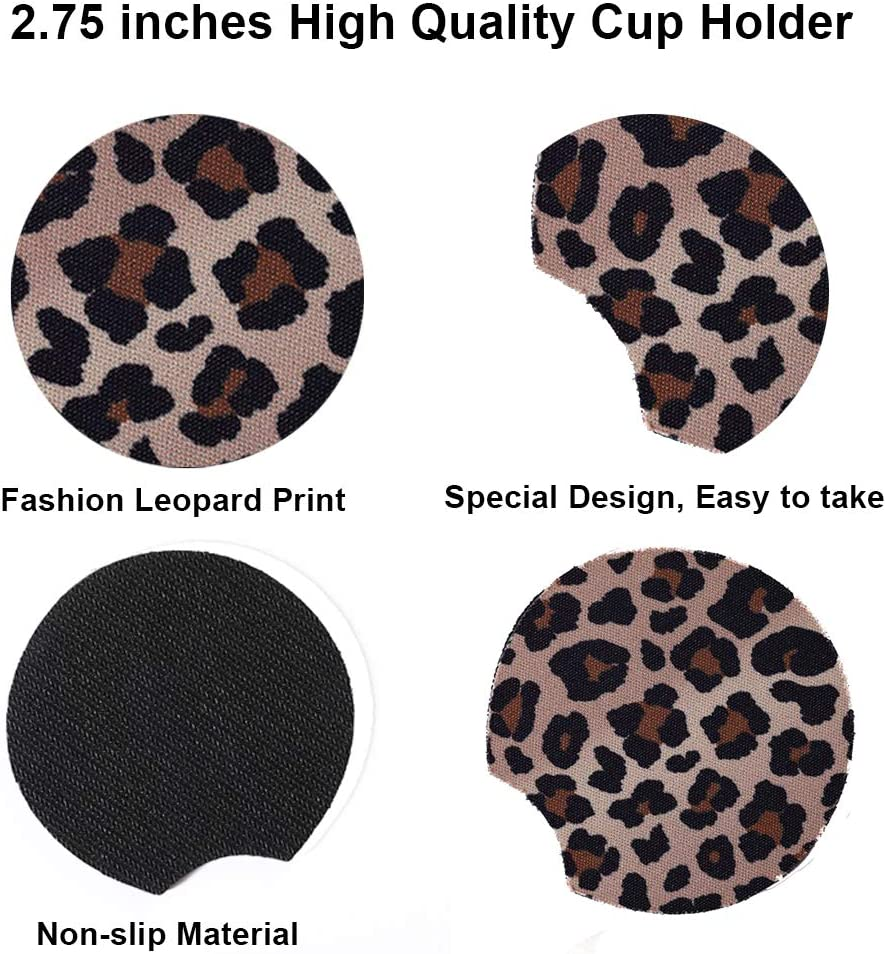 Sanpanie 2.75 inches Leopard Car Coasters for Drinks Neoprene Cup Coaster Rubber Car Cup Pad Mat Car Accessories fit for Car Truck SUV Living Room Kitchen Office 6PCS