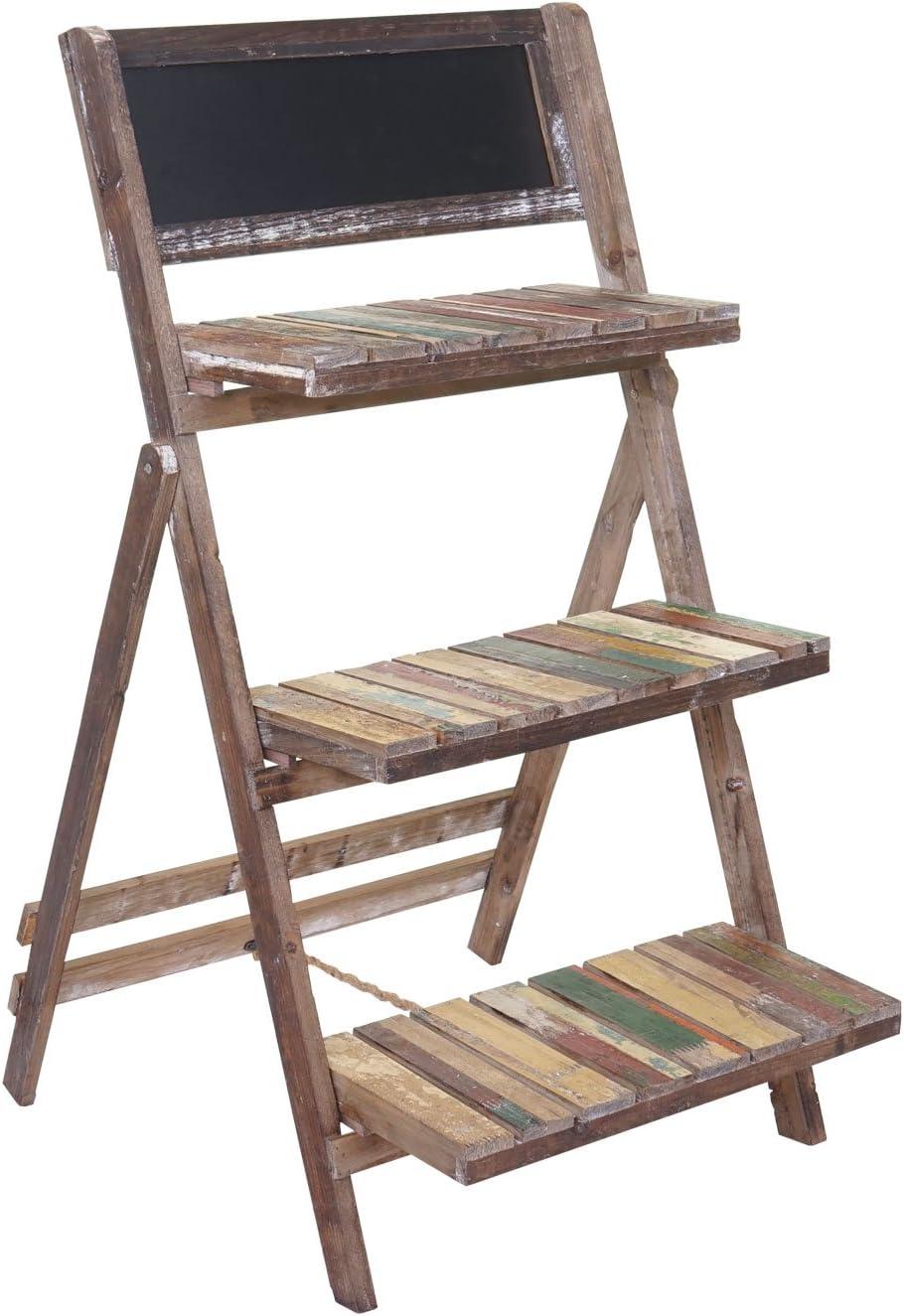 Serie Vintage Estantería macetas 3 estantes con pizarra hwc-a94 madera paulonia: Amazon.es: Hogar