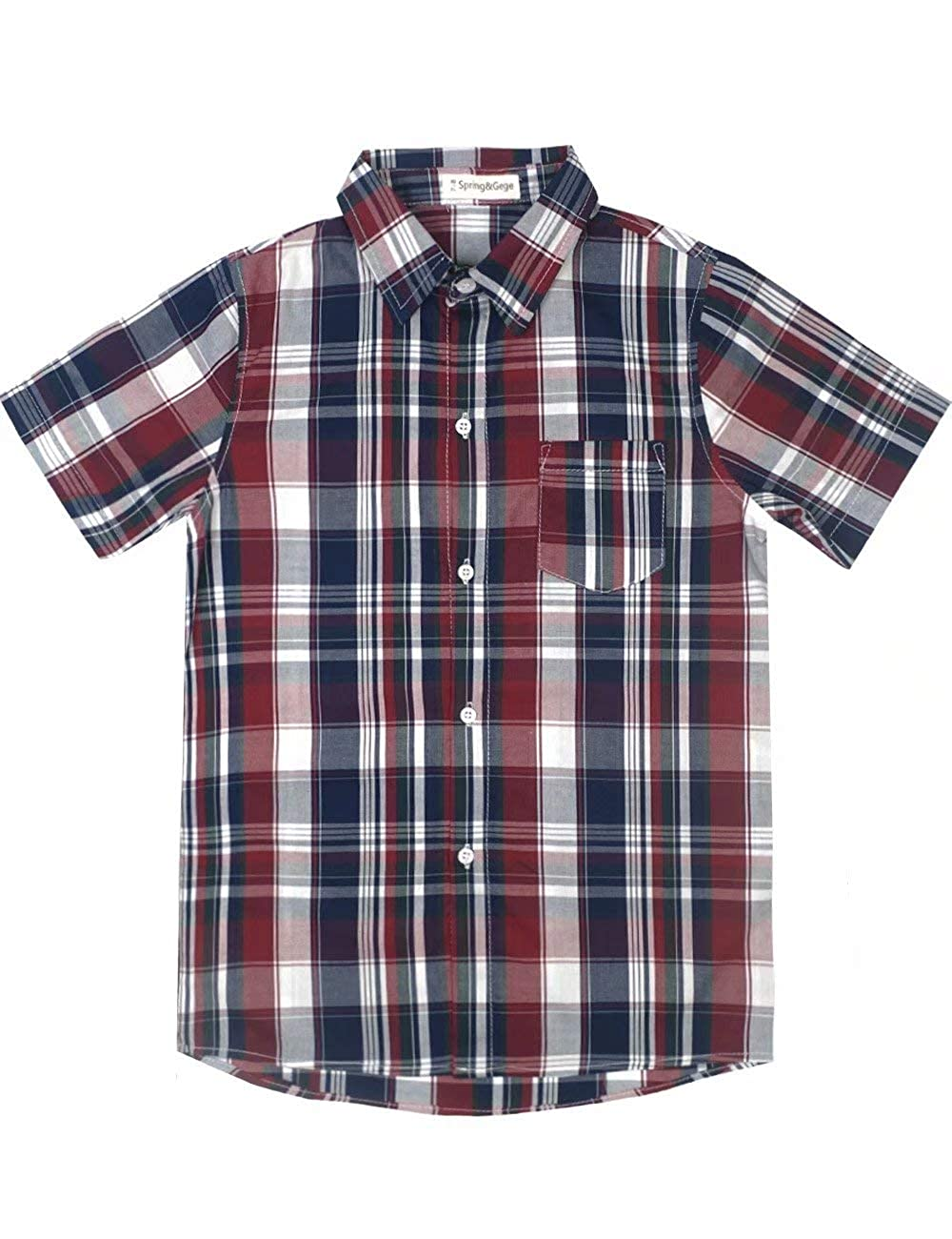 Spring& Gege Boys' Casual Short Sleeve Check Plaid Soft Sport Shirts