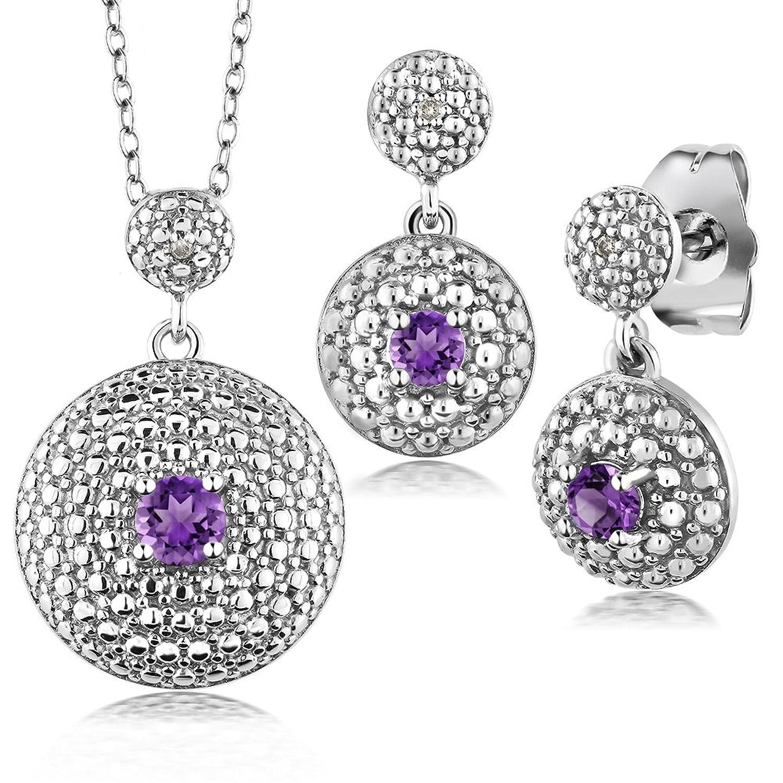 0.46 Ct Purple Amethyst Diamond Rhodium Plated Pendant Earrings Set