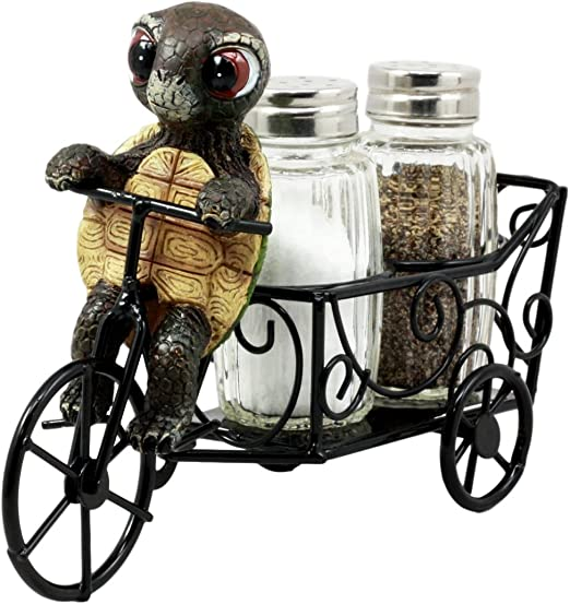 Ebros Slow Seasoned Delivery Turtle Riding Tricycle Cart Salt /& Pepper Shakers