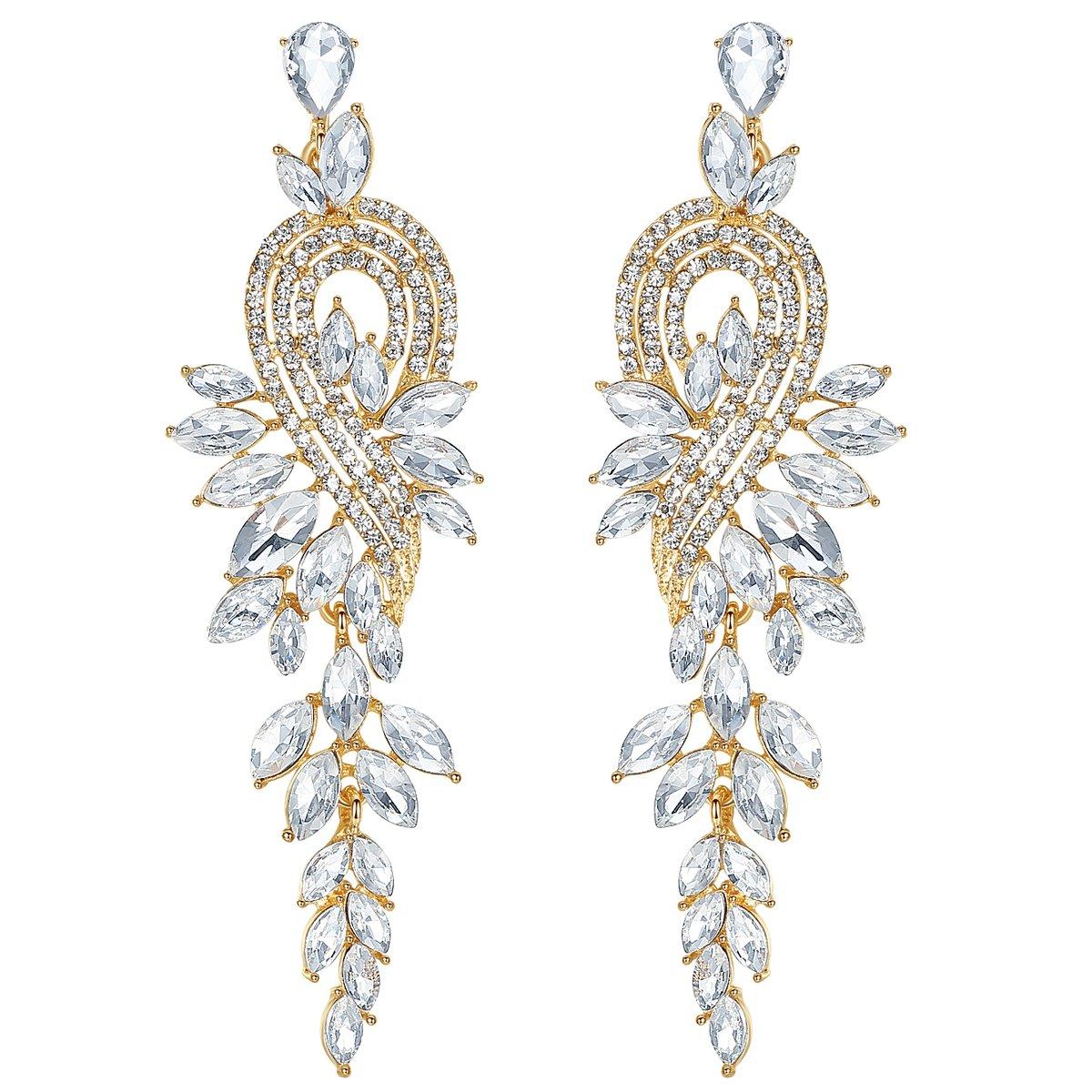 mecresh Gold Long Leaf Crystal Dangle Earrings for Women Bridesmaid Wedding Jewelry Gift