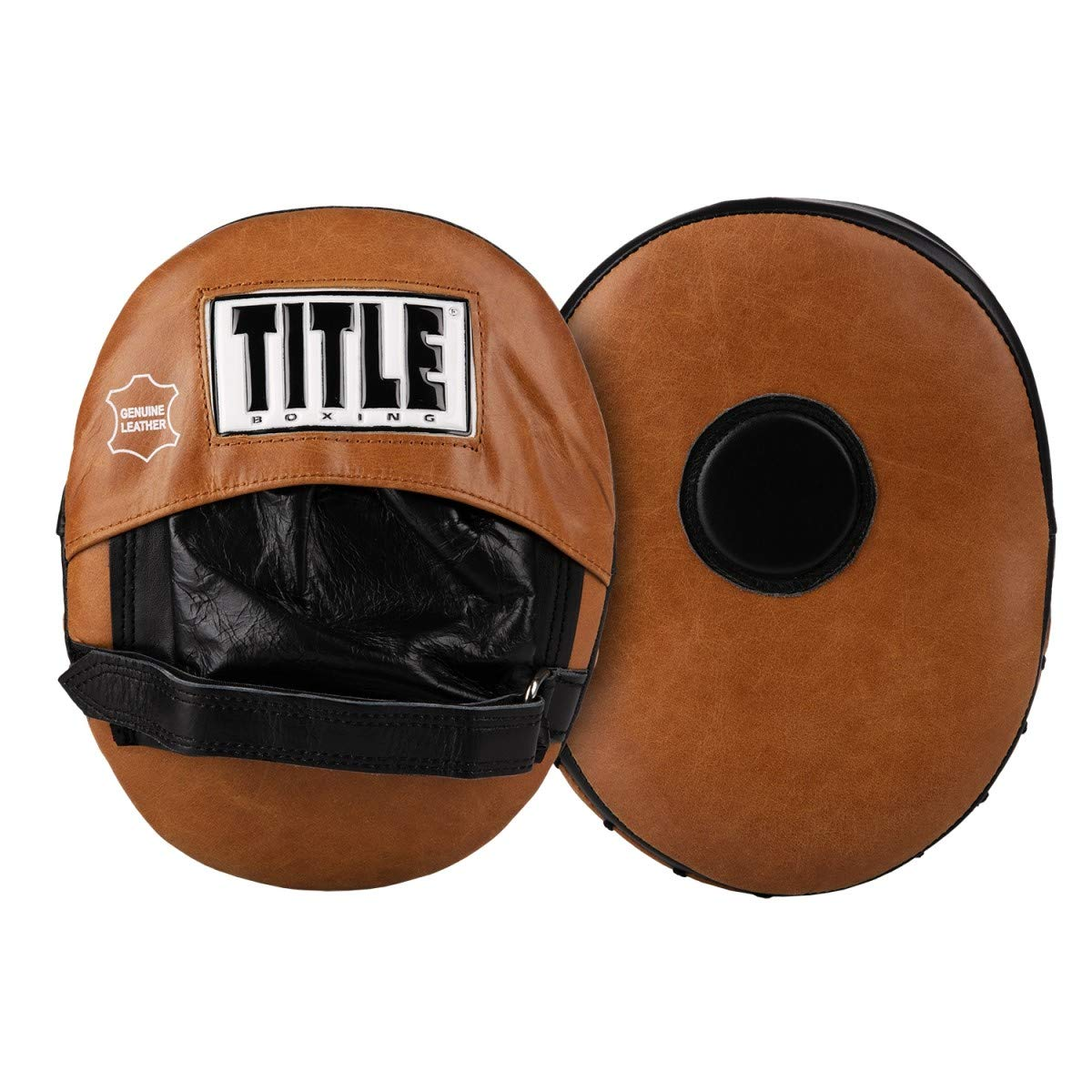 Title Boxing Vintage Punch Mitts, Black/Brown