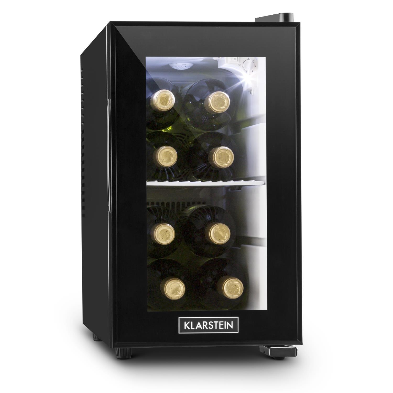 Klarstein Beerlocker S • mini bar • frigo bar • 21 L • doppiamente isolato • 1 ripiano in metallo • illuminazione interna LED • autonomo • funzionamento silenzioso • 70 Watt • nero [Classe di efficienza energetica A+] HEA8-Beerlocker-S
