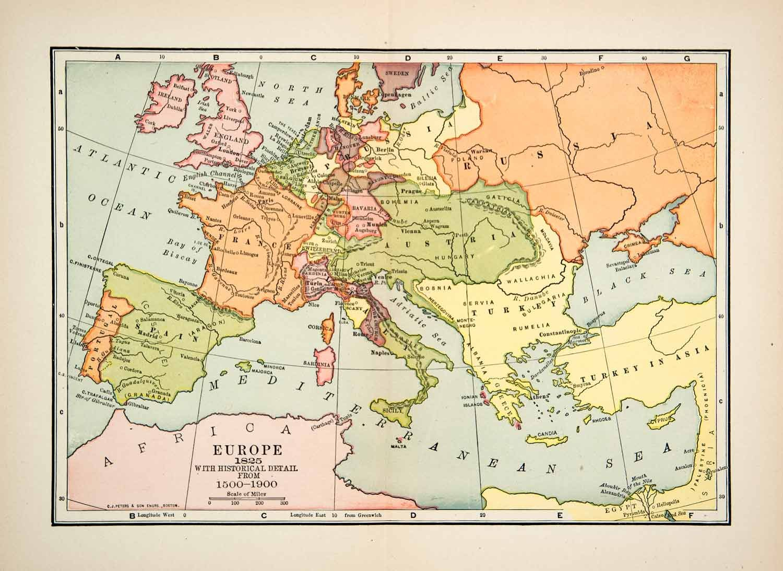 Map Of Spain France Border.1901 Lithograph Map Europe England Austria Turkey Prussia Bavaria
