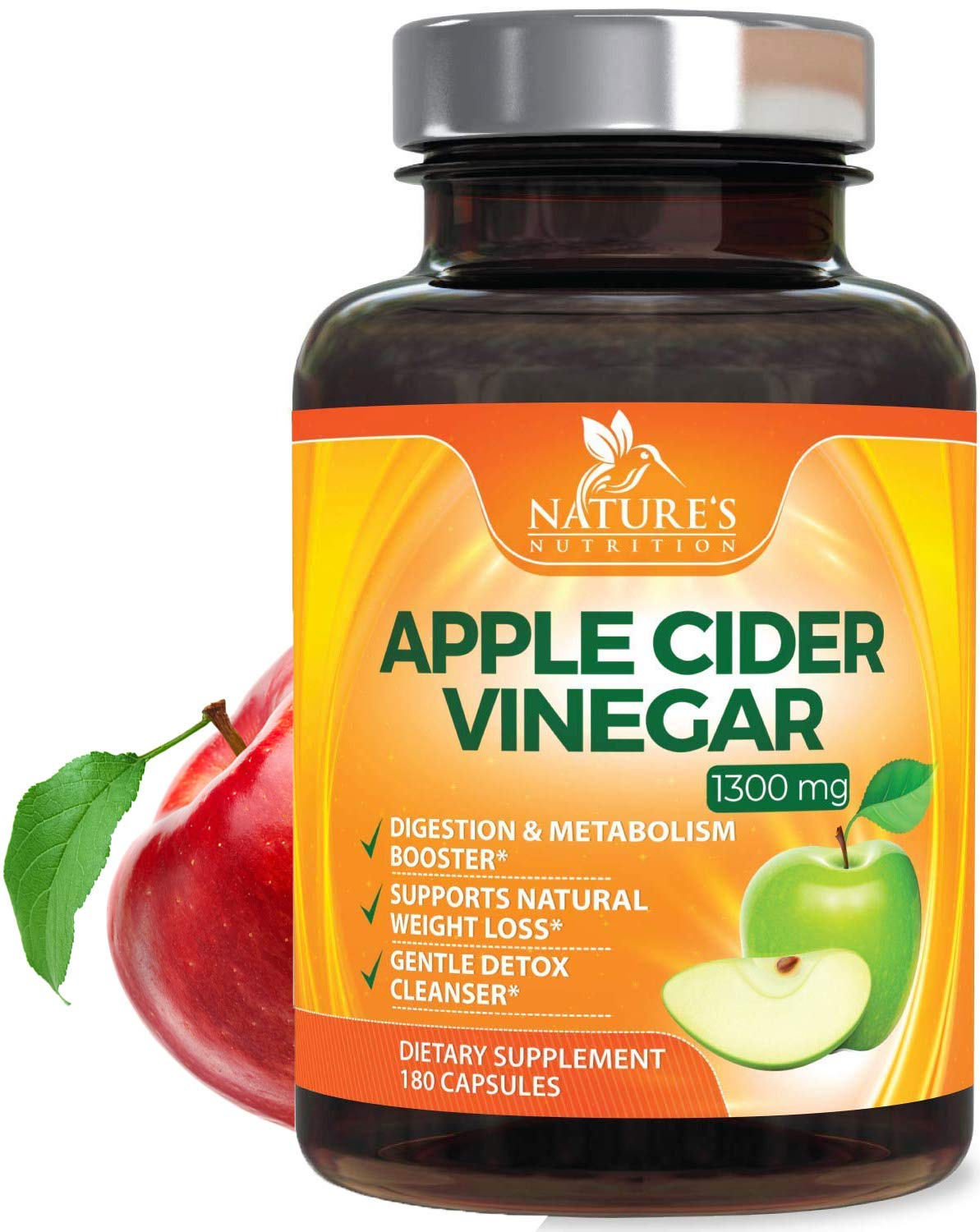 100% Natural Raw Apple Cider Vinegar Pills - Highest Potency 1300mg - Weight Loss Appetite Suppressant, Made in USA, Best Vegan ACV, Metabolism Fat Burner & Detox Cleanse Supplement - 180 Capsules by Nature's Nutrition