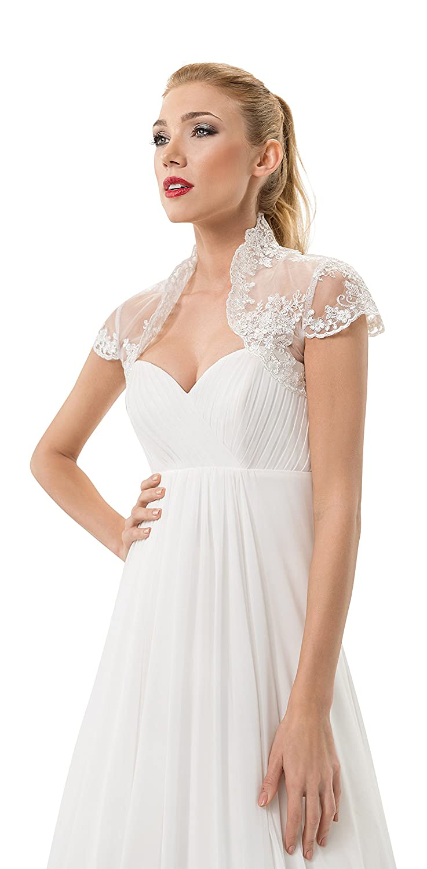 Wedding Lace Bolero Shrug Bridal Jacket Silver Thread weaved through the lace