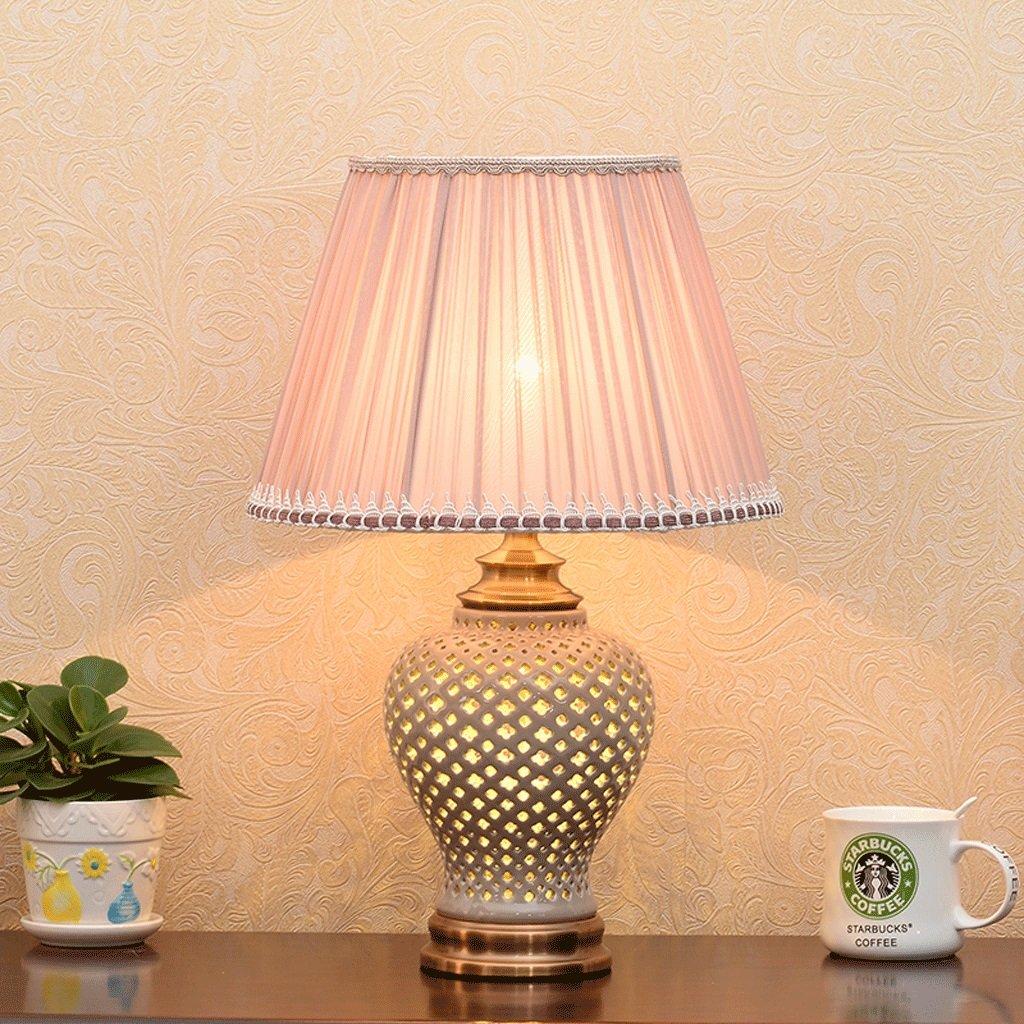 Hohle keramische Tischlampe, Lampe Körper Lampe Schirm Dual Lichtquelle Design, Knopfschalter, kreatives Wohnzimmer Schlafzimmer Nachttischlampe (Farbe   Coffee ash)