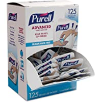 PURELL SINGLES Advanced Hand Sanitizer Gel, Fragrance Free, 125 Count Single-Use Packets (Pack of 1) - 9620-12-125EC