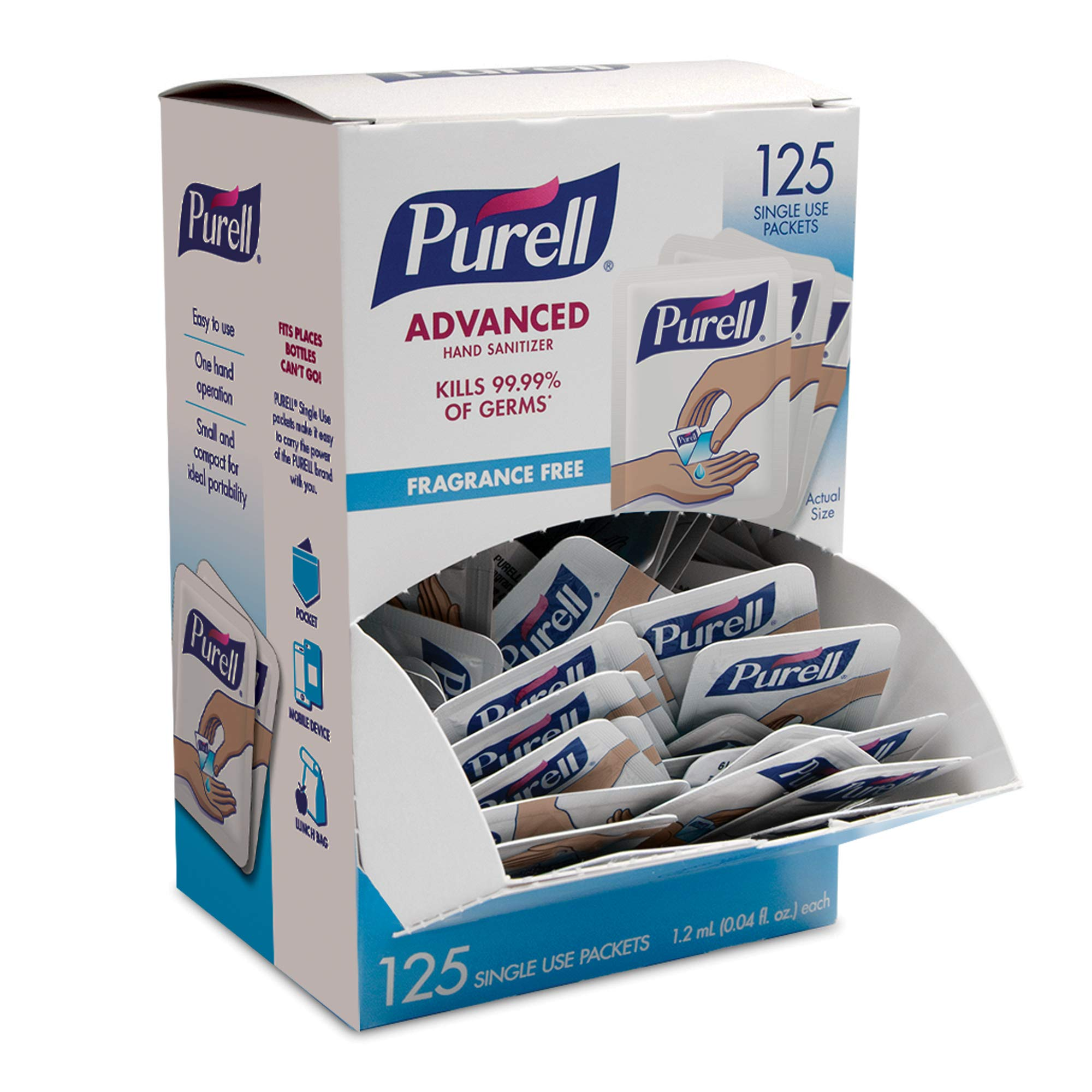 PURELL SINGLES Advanced Hand Sanitizer Gel - 125 Count Single Use Packets with Display Box - 9620-12-125EC by Purell