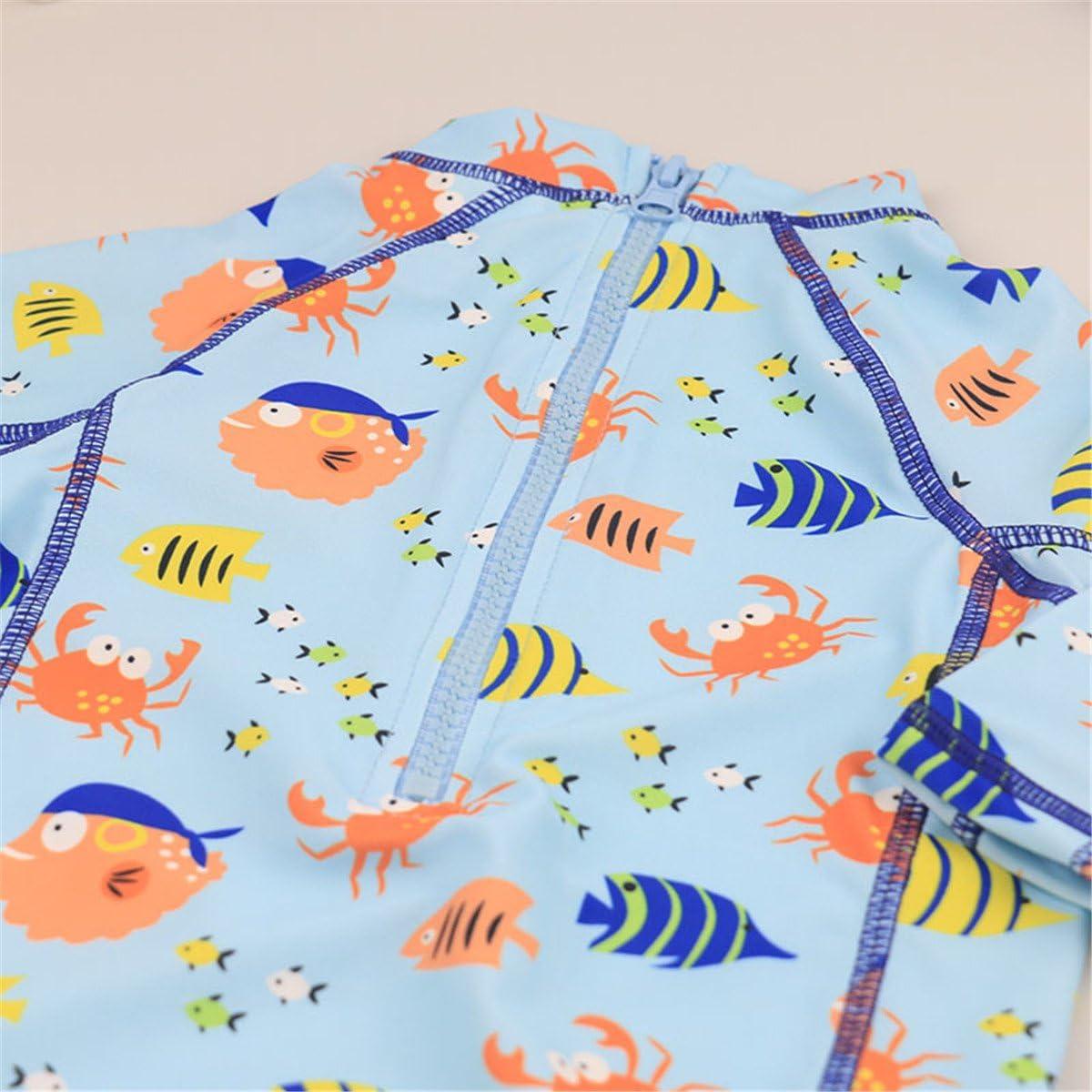 UV Swimsuit with Sun Hat REWANGOING Baby Kids Boys Girls One Pieces Cartoon Print Long Sleeve Rash Guard UPF 50