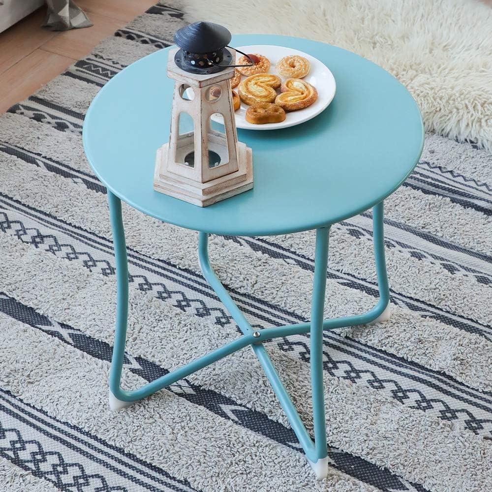 Amagabeli Mesa velador Mesa de café Mesa con Caja Redonda Mesa de Centro para Salón Mesa Auxiliar Azul