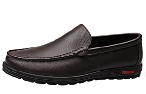 Liveinu Men's Causal Leather Slip On Penny Loafers Shoes Brown 7