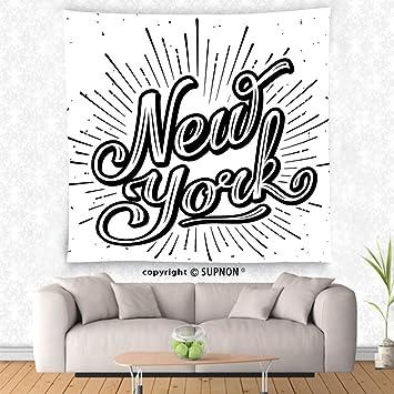 VROSELV custom tapestry Vintage Tapestry New York Typography Star Burst Calligraphy Hand Written Hipster Lettering Artwork