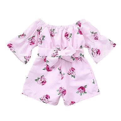a9c9bd0ed6ab Amazon.com  ZHANGVIP Infant Toddler Kids Baby Girl Floral Print ...