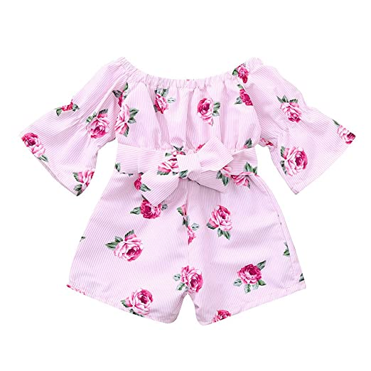 6aa1c6a0597f Amazon.com  Lurryly Toddler Baby Girls Floral Striped Print Romper Jumpsuit  Outfits Clothes 1-4 T  Clothing