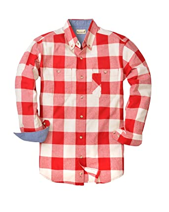 d25bc5260a6a Backpacker Men's BP7040 Yarn-Dyed Long-Sleeve Brushed Button Down Plaid  Flannel Shirt at Amazon Men's Clothing store: