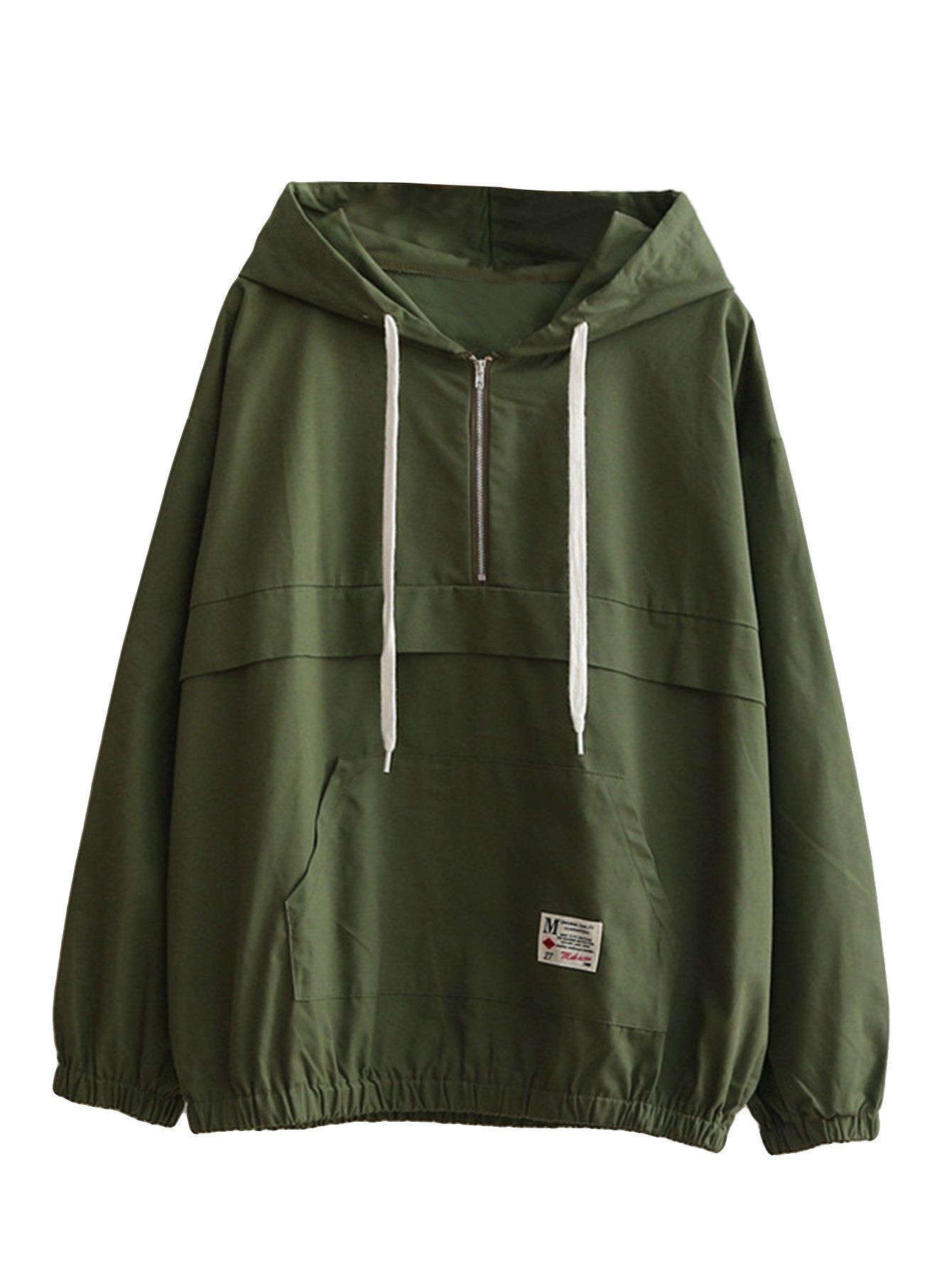 Romwe Women's Lightweight Kangaroo Pocket Anorak Sports Jacket Drawstring Hooded Zip up Windproof Windbreaker Army-Green S