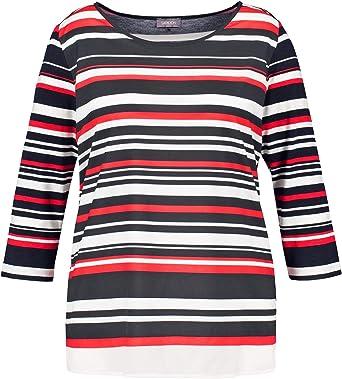 Samoon 272038-26135 Camisa Manga Larga, Multicolor (Navy Multicolor Ringel 8104), 50 (Talla del Fabricante: 48) para Mujer: Amazon.es: Ropa y accesorios
