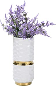 MyGift 10 Inch Modern Style Hammered Design White & Gold Ceramic Flower Vase Home Decor Floral Arrangement Centerpiece