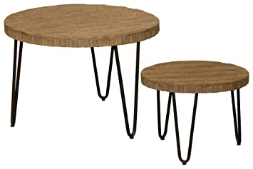 Urban Trends Metal Round Nesting Coffee Table Lattice Design Top And  Hairpin Legs Set Of Two
