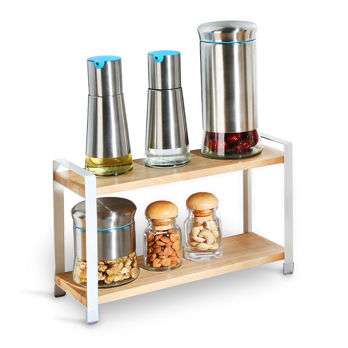 Creatwo Wood Spice Rack, 2 Tier Kitchen Countertop Spice Rack