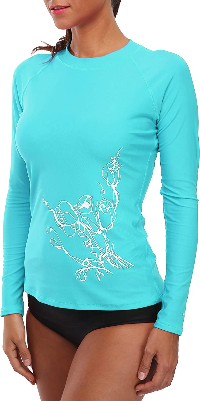 BeautyIn Damen Rash Guard Langarm Sportlich Uv Schutz Badeanzug schwimmshirts UPF 50 Bademode