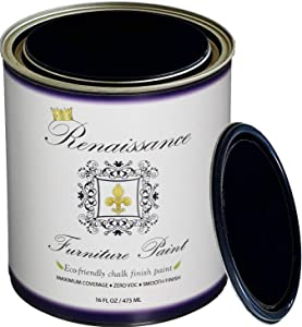 Renaissance Chalk Finish Paint - Midnight Black 1 Pint (16oz) - Chalk Furniture & Cabinet Paint - Non Toxic, Eco-Friendly, Superior Coverage