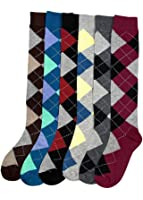 Ladies Colorful Knee High Fashion Socks Assorted (6 Pack)