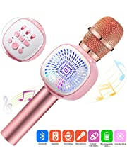 Karaoke Microphone Kids, Wireless Bluetooth Microphone Speaker, Singing machine for Kids, Multi-color LED, Compatible with iPhone/Android/Smartphone, Christmas Gift Birthday Presents Girls Boys, For Home Party KTV (pink)