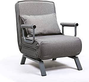 JAXPETY Sofa Bed Folding Arm Chair Single Sleeper Bed Chair, Leisure Recliner Lounge Couch w/Pillow and 5 Position Adjustable Backrest for Home Office, Gray