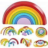 king do way 7pcs Apilador de Arco Iris de Madera Geometría Bloques de Construcción Juguete de Aprendizaje Preescolar…