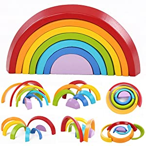 king do way Wooden Rainbow Stacking Learning Toy, Geometry Building Blocks Educational Rainbow Toys for Toddlers, Puzzle Creative Colorful Children's Educational Toys