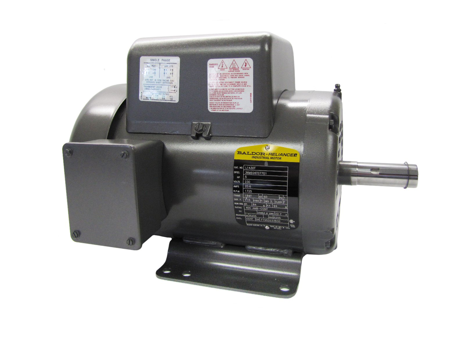 Baldor L1430T General Purpose AC Motor, Single Phase, 184T Frame, ODTF  Enclosure, 5Hp Output, 1725rpm, 60Hz, 230V Voltage: Electronic Component  Motors: ...