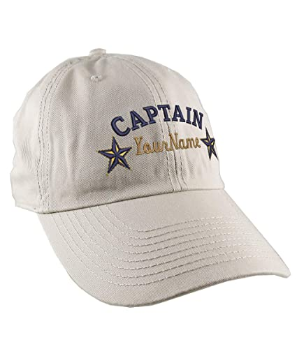 0a5c71e51decb Amazon.com  Personalized Captain Stars Your Name Embroidery on Adjustable  Stone Beige Unstructured Mid Profile Cap with Option to Personalize the  Back  ...