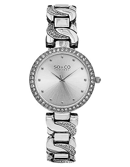 SO & CO New York - Reloj de pulsera analógico para mujer, correa de chapado