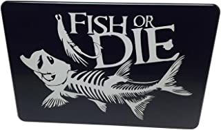 """product image for HMC Billet Fish Or Die Aluminum Laser Engraved Trailer Hitch Cover - 4"""" x 6"""""""